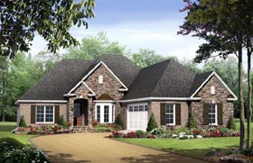 House Plan 59132 | Country European Traditional Style Plan with 1898 Sq Ft, 3 Bedrooms, 2 Bathrooms, 2 Car Garage Elevation