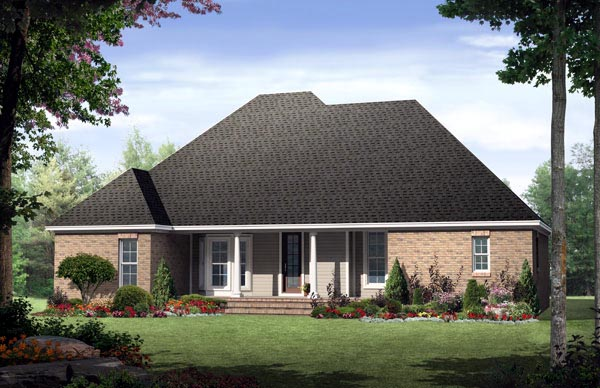 Country European Traditional Rear Elevation of Plan 59132