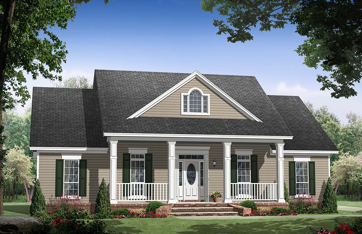Country, Ranch, Traditional House Plan 59134 with 3 Beds , 3 Baths , 2 Car Garage Elevation