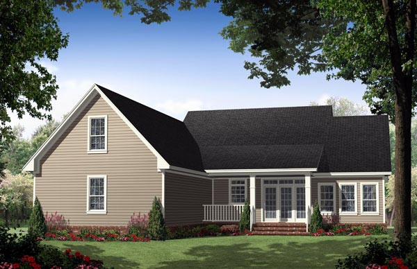 Country , Ranch , Traditional , Rear Elevation of Plan 59134
