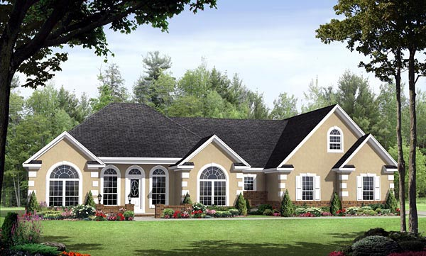 European, Traditional House Plan 59136 with 3 Beds, 3 Baths, 2 Car Garage Elevation
