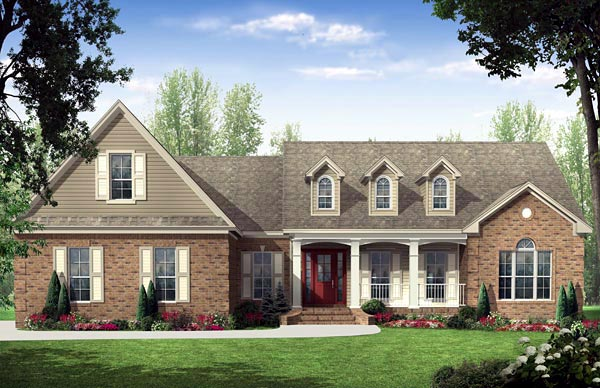 Country Ranch Traditional House Plan 59137 Elevation