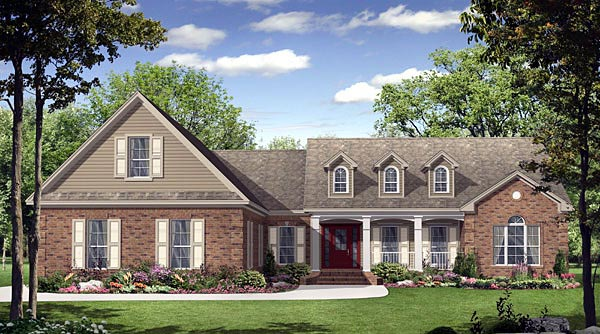Country, European, French Country, Traditional House Plan 59139 with 3 Beds, 3 Baths, 3 Car Garage Front Elevation