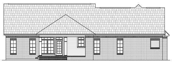 Country, European, French Country, Traditional House Plan 59140 with 3 Beds, 3 Baths, 3 Car Garage Rear Elevation