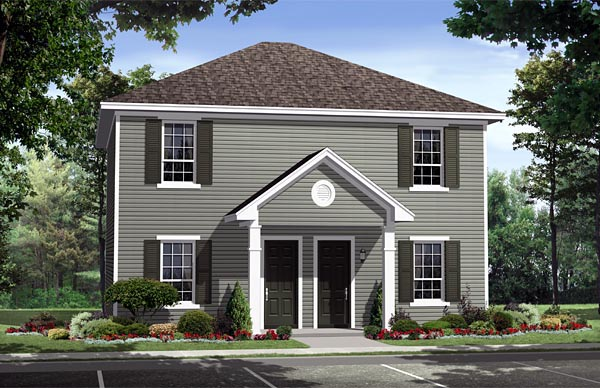 Multi-Family Plan 59141 | Country Southern Traditional Style Plan with 1890 Sq Ft, 4 Bedrooms, 4 Bathrooms Elevation
