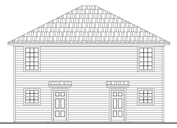 Multi-Family Plan 59141 | Country Southern Traditional Style Plan with 1890 Sq Ft, 4 Bedrooms, 4 Bathrooms Rear Elevation