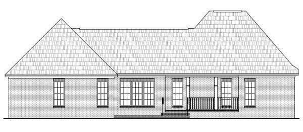 House Plan 59142 | Country European French Country Style Plan with 2060 Sq Ft, 3 Bed, 3 Bath, 2 Car Garage Rear Elevation