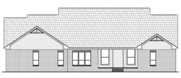 Country European Traditional Rear Elevation of Plan 59144