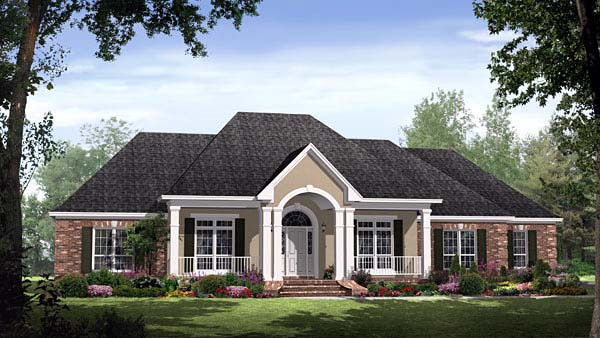 Country, European, Traditional House Plan 59145 with 4 Beds , 4 Baths , 2 Car Garage Elevation