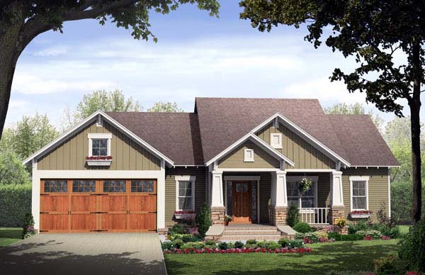 Bungalow, Craftsman House Plan 59146 with 3 Beds , 2 Baths , 2 Car Garage Elevation