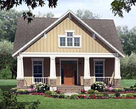 House Plan 59147 | Cottage Country Craftsman Style Plan with 1800 Sq Ft, 3 Bedrooms, 2 Bathrooms, 2 Car Garage Elevation
