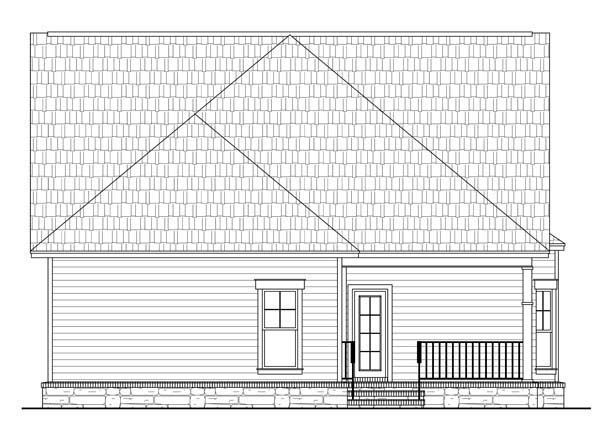House Plan 59147 | Cottage Country Craftsman Style Plan with 1800 Sq Ft, 3 Bedrooms, 2 Bathrooms, 2 Car Garage Rear Elevation