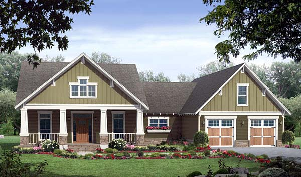 Bungalow, Craftsman House Plan 59149 with 3 Beds, 3 Baths, 2 Car Garage Elevation