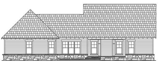 Bungalow, Craftsman House Plan 59149 with 3 Beds, 3 Baths, 2 Car Garage Rear Elevation