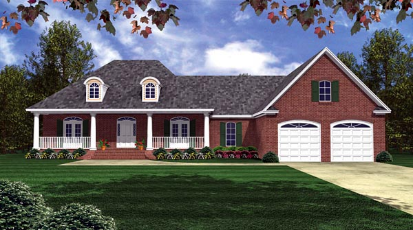 Country European Farmhouse Southern Elevation of Plan 59150