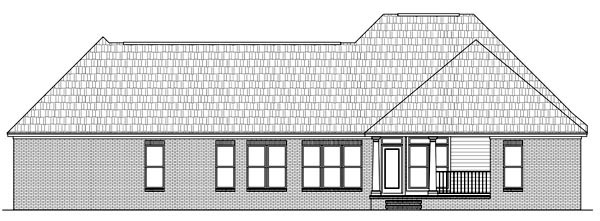 Country European Farmhouse Southern Rear Elevation of Plan 59150