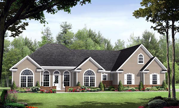 Country , European , Southern , Traditional House Plan 59152 with 3 Beds, 3 Baths, 2 Car Garage Elevation