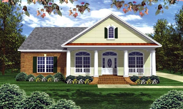 Colonial, Ranch, Southern, Traditional House Plan 59156 with 3 Beds, 2 Baths, 2 Car Garage Elevation
