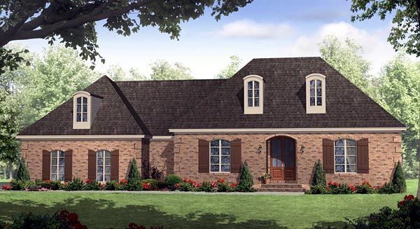 European, Italian, Traditional House Plan 59158 with 3 Beds, 3 Baths, 2 Car Garage Front Elevation