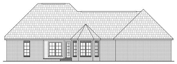 European, Italian, Traditional House Plan 59158 with 3 Beds, 3 Baths, 2 Car Garage Rear Elevation