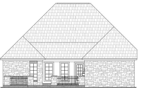 House Plan 59159 | Cottage Country European French Country Style Plan with 2000 Sq Ft, 3 Bedrooms, 3 Bathrooms, 2 Car Garage Rear Elevation