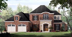 Country , European , French Country House Plan 59160 with 3 Beds, 3 Baths, 2 Car Garage Elevation