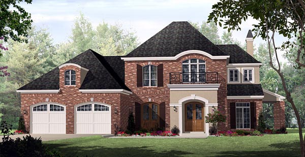 Country, European, French Country House Plan 59160 with 3 Beds, 3 Baths, 2 Car Garage Elevation