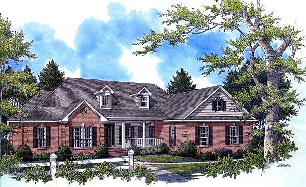 Country, Southern, Traditional House Plan 59162 with 4 Beds, 3 Baths, 2 Car Garage Elevation