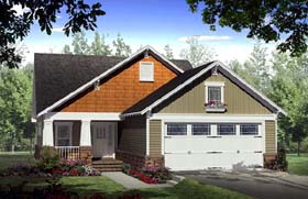 House Plan 59164 | Cottage Country Craftsman Style Plan with 1800 Sq Ft, 3 Bedrooms, 2 Bathrooms, 2 Car Garage Elevation