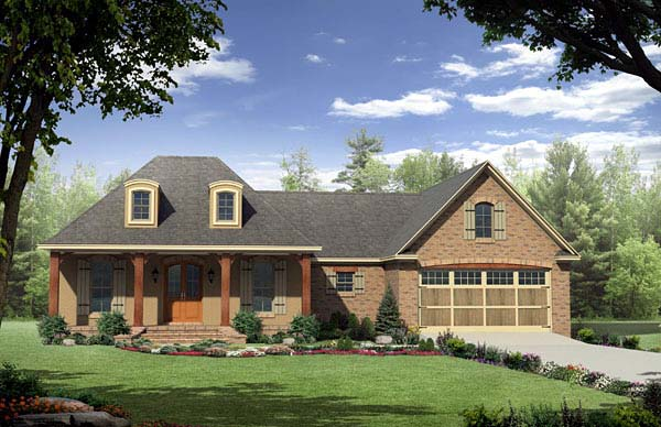 Country , European , French Country House Plan 59165 with 3 Beds, 2 Baths, 2 Car Garage Elevation