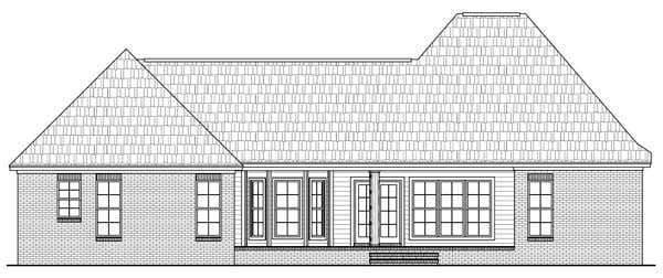 Country , European , French Country House Plan 59165 with 3 Beds, 2 Baths, 2 Car Garage Rear Elevation