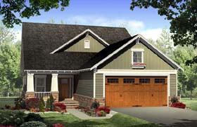 House Plan 59166 | Cottage Country Craftsman Style Plan with 2104 Sq Ft, 3 Bedrooms, 3 Bathrooms, 2 Car Garage Elevation