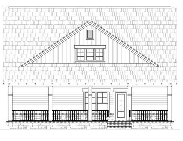 House Plan 59166 | Cottage Country Craftsman Style Plan with 2104 Sq Ft, 3 Bedrooms, 3 Bathrooms, 2 Car Garage Rear Elevation