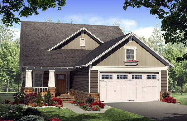 Bungalow, Craftsman House Plan 59168 with 4 Beds, 3 Baths, 2 Car Garage Elevation
