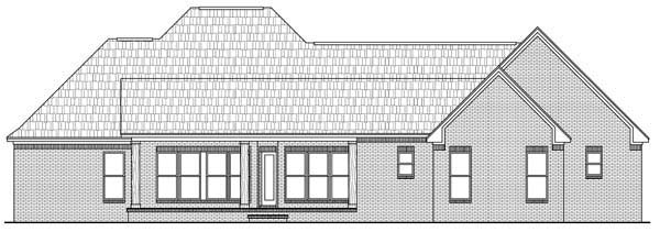 Country , European , French Country , Southern , Rear Elevation of Plan 59169