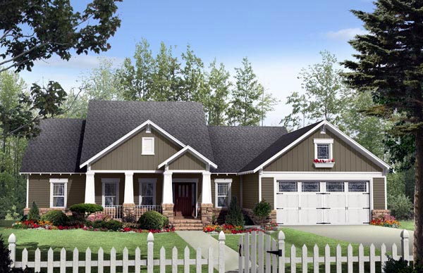 Cottage Country Craftsman House Plan 59170 Elevation