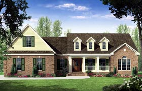 Country , European , French Country , Traditional House Plan 59171 with 3 Beds, 3 Baths, 2 Car Garage Elevation