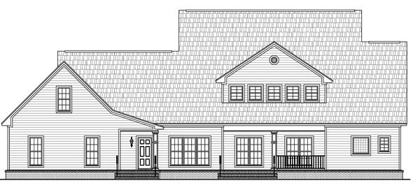 Country, Farmhouse, Traditional House Plan 59172 with 4 Beds, 4 Baths, 3 Car Garage Rear Elevation