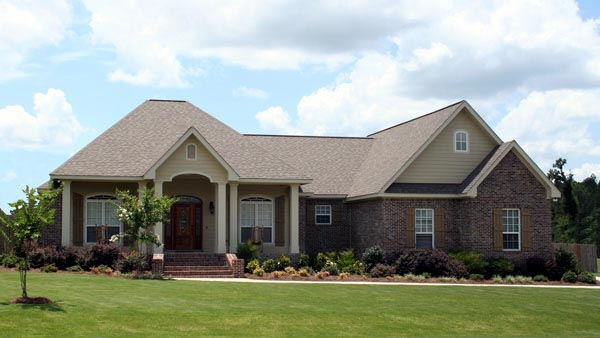 Traditional , European , Colonial House Plan 59173 with 3 Beds, 3 Baths, 2 Car Garage Elevation