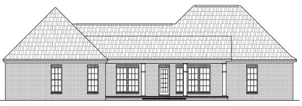 Colonial , European , Traditional House Plan 59173 with 3 Beds, 3 Baths, 2 Car Garage Rear Elevation