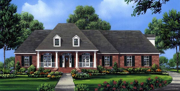 House Plan 59176 | Country European French Country Southern Style Plan with 2491 Sq Ft, 4 Bedrooms, 3 Bathrooms, 2 Car Garage Elevation