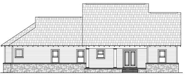 Cottage, Country, Craftsman House Plan 59177 with 3 Beds, 2 Baths, 2 Car Garage Rear Elevation