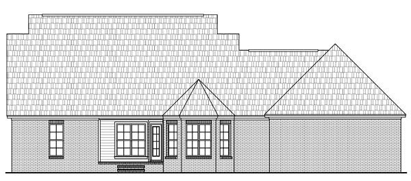 Country , Southern , Traditional House Plan 59180 with 3 Beds, 2 Baths, 2 Car Garage Rear Elevation