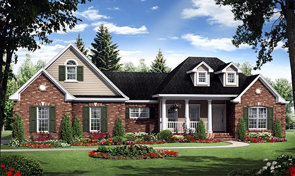 House Plan 59181 | Country European French Country Traditional Style Plan with 1800 Sq Ft, 3 Bedrooms, 2 Bathrooms, 2 Car Garage Elevation