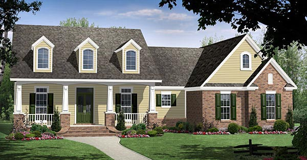 Country, Craftsman, European, Traditional House Plan 59186 with 4 Beds, 3 Baths, 2 Car Garage Elevation