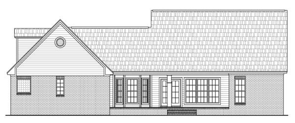 Country, Craftsman, European, Traditional House Plan 59186 with 4 Beds, 3 Baths, 2 Car Garage Rear Elevation
