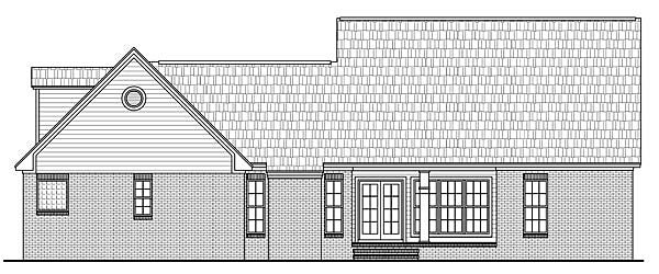 Country, Craftsman, European, Traditional House Plan 59188 with 4 Beds, 3 Baths, 2 Car Garage Rear Elevation