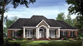 Country , European , Traditional House Plan 59189 with 4 Beds, 4 Baths, 2 Car Garage Elevation