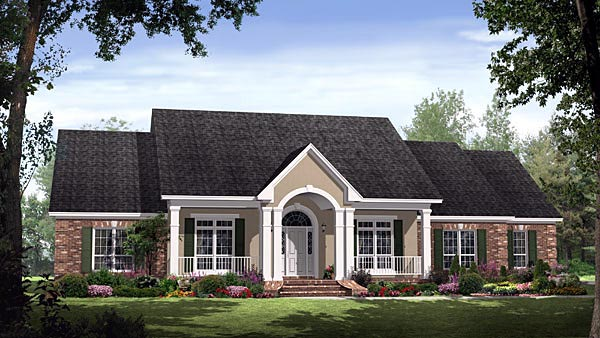 Country, European, Traditional House Plan 59190 with 4 Beds, 4 Baths, 2 Car Garage Elevation