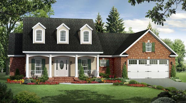 Country, Farmhouse, Southern, Traditional House Plan 59191 with 3 Beds , 2 Baths , 2 Car Garage Elevation